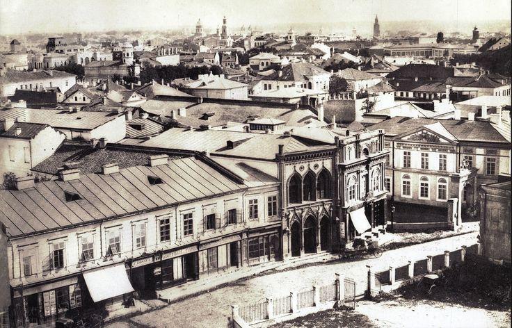 Ludwig Angerer, Podul Mogosoaiei (Calea Victoriei), de pe Teatrul National, 1856. (Colectia de Stampe, Biblioteca Academiei Romane)