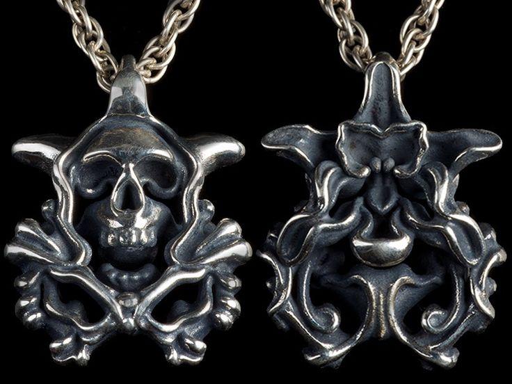 Gothic life and death silver pendant. #Gothic#Gothicjewelry#skull orchid#skulljewelry#skullart#witchjewelryt#rockjewelry#mythology#wicca#unisexJewelry