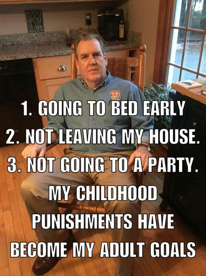 Childhood punishments have become my adult goals.