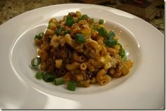 Skillet chili mac with corn---healthy too!