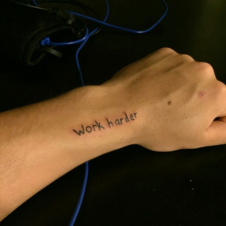 """Casey Neistat inspired quote tattoo by Eric at New Vision Tattoo, Gainesville, GA. """"work harder""""."""