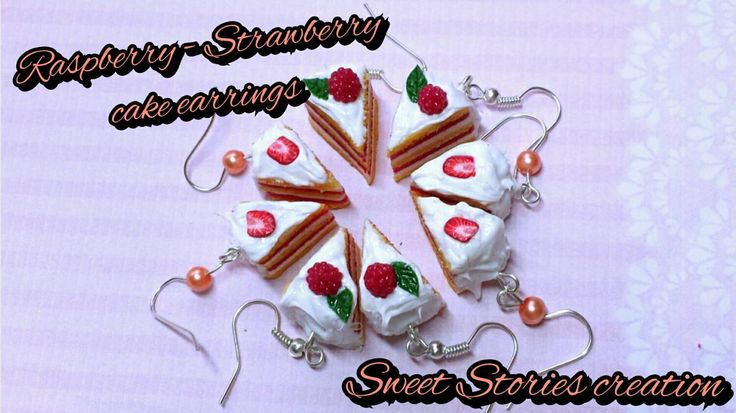 Raspberry - Strawberry cake earring hooks - food miniature earrings - mini food jewelry (14.00 EUR) by SweetStoriesCreation