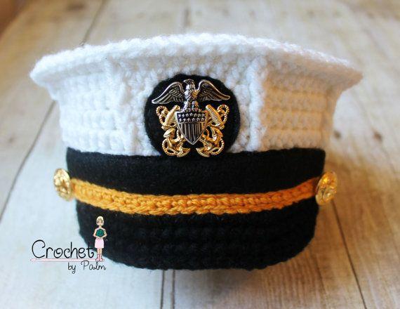 Crochet Baby Marine Hat Pattern : Crochet US Navy Hat, Navy Officer Hat, Military Hat ...