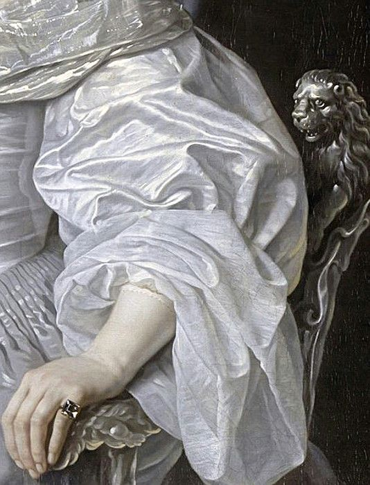 Portrait of Mary, Princess Royal and Princess of Orange (detail), 1652, by Bartholomeus van der Helst (Dutch, 1613-1670)