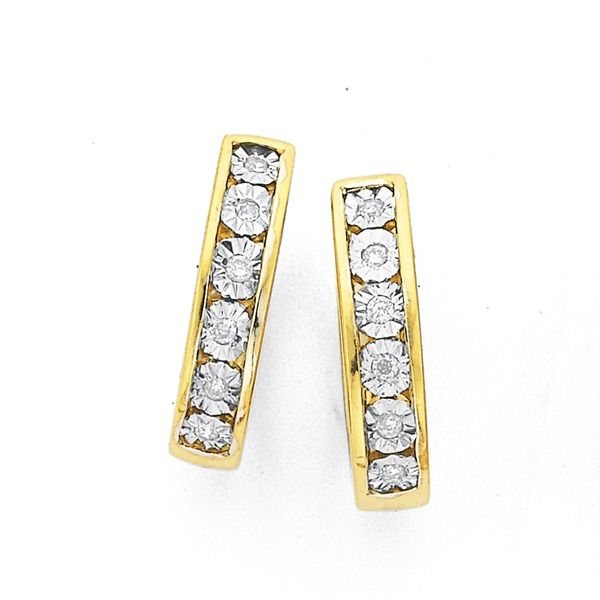 9ct Gold Diamond Huggie Earrings