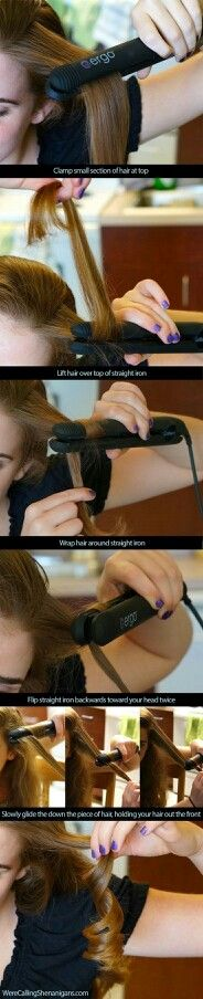 A great description on how to actually curl your hair with a flat iron. **Must remember to curl over TOP of the flat iron!**