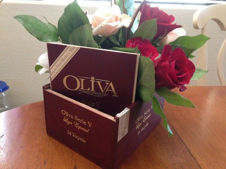 Cigar box wedding centerpiece