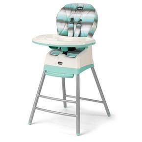 3 unique seating modes for growing children<br>•Snap-on tray with one-hand removal/adjustment<br>•Removable tray liner<br>•Tray storage on rear legs<br>•Padded, 3-position reclining seat<br>•Easy-to-clean, wipeable seat pad, chair and legs<br>•Fun colors and sleek, welded frame<br><br>Make life simple with this multi-stage highchair for growing children! <br>Highchair<br>•For infants who are learning to sit and enjoy first foods<br>•Padded, 3-position r...