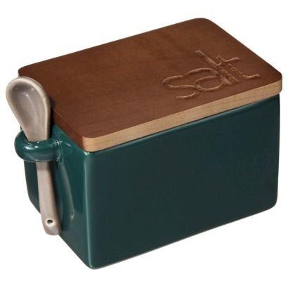 Threshold Stoneware Square Salt Box With Acacia Lid