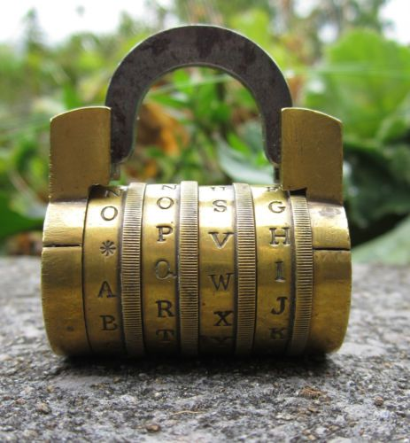 Antique Brass Combination Padlock.Four Wheel Barrel.Early Nineteeth Century.