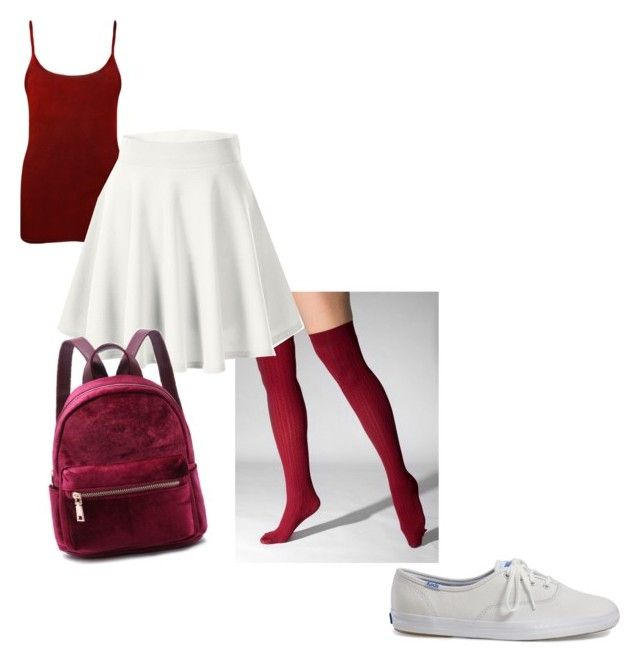 """""""Burgaandy and white"""" by megan-osh on Polyvore featuring WearAll and Keds"""