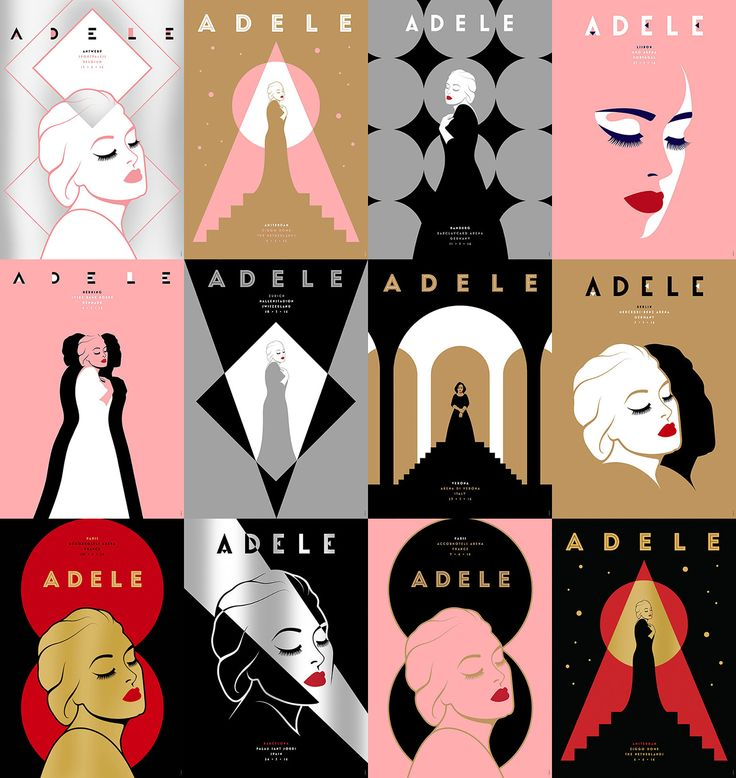 Adele 2016 Tour Posters- XL Recordings - Set of 27 official posters for Adele's 2016 European tour. Each night of the tour had a unique poster, only available to buy at the concert venue. 200 screen prints were produced of each design, with 5 secretly signed by Adele. Printed on G.F. Smith papers with metallic inks.