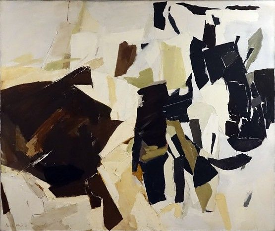 """Perle Fine,Surge, 1960 Oil on canvas, 49 3/4 x 59 3/4 inches """" I never thought of myself as a student or teacher, but as a painter. When I paint something I am very much aware of the future. If I feel something will not stand up 40 years from now, I am not interested in doing that kind of thing."""" Siris-archives.si.edu. June 10, 1951."""