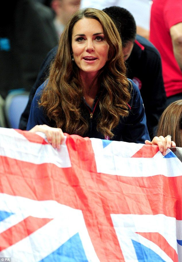 Kate flies the flag for Team GB as she attended Greenwich Arena to watch the gymnastics