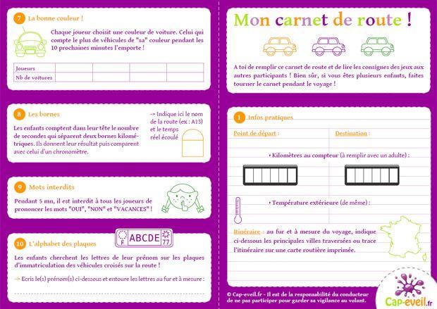 Carnet de route et de jeux pour occuper les enfants pendant les trajets