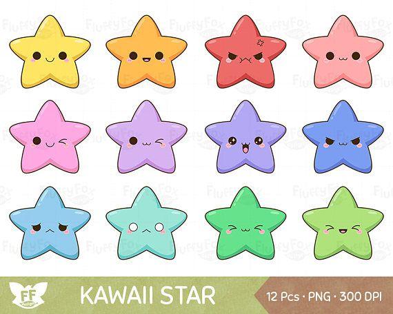 Kawaii Star Clipart Cute Stars Clip Art Galaxy Happy Funny Face Emoji Expression Cartoon Character Digital Rainbow Png Graphic Download Star Clipart Cute Stars Etsy Humor