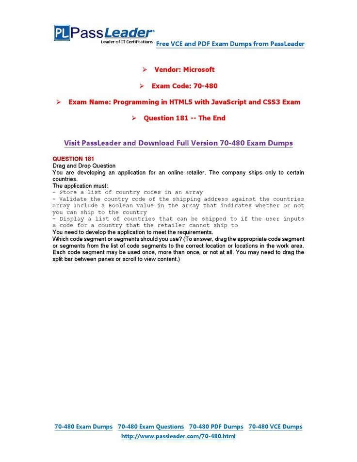 70-480 Exam Dumps with PDF and VCE Download (181-end)