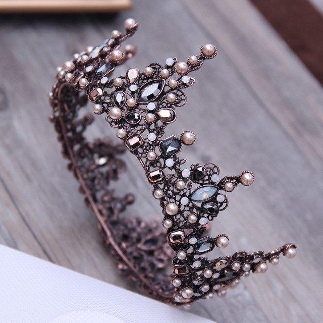 Alte Barocke Tiara Vintage Geometrische Perlen Tiaras Kronen Haarband Royal Quee…
