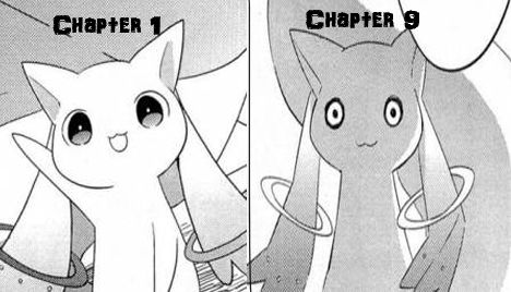 Awe kyubey in the manga was so cute *hugs him* no you can't make a contract with me because your evil, but I love you anyways