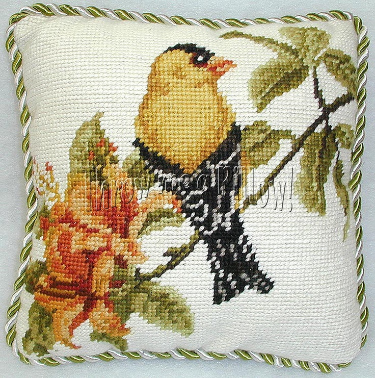 Bird needlepoint pillow.