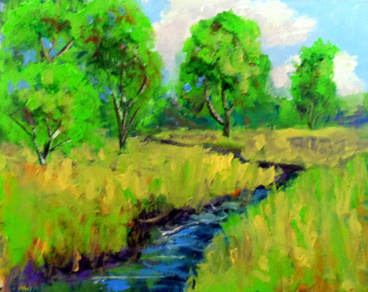 """Small oil landscape painting 8x10""""  nature,tree,water  painting by Ken Burnside #Impressionism"""