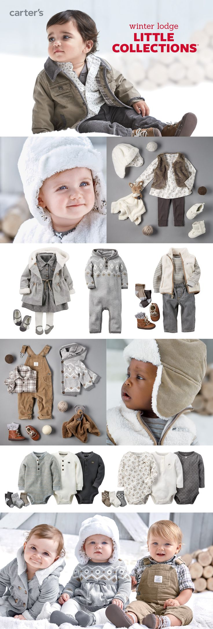 Baby's first looks for winter feature novelty details like faux fur, fair isle and sherpa fleece.