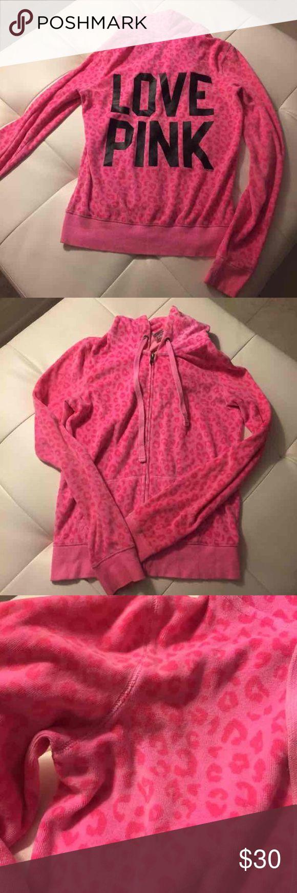 Victoria's Secret pink zip up hoodie Pink leopard zip up hoodie. Victoria's Secret pink. Size XS PINK Victoria's Secret Jackets & Coats