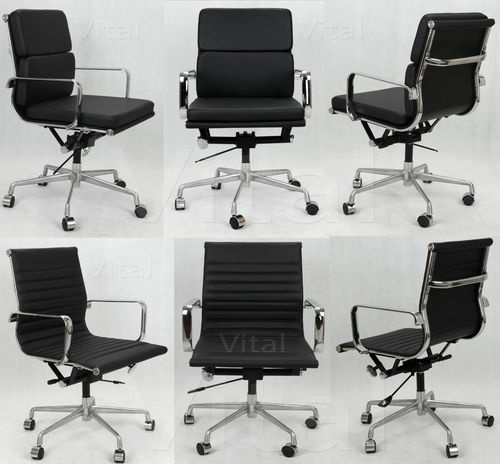 Vital Eames Style Leather Soft Pad Ribbed Home Office Executive Computer Chair Ebay
