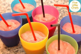 Strawberry Lemonade Smoothie Little Chefs can make!  Simple cooking activities like this, help young children learn how to follow directions, introduces them to early math concepts and teaches provides them with a healthy treat!