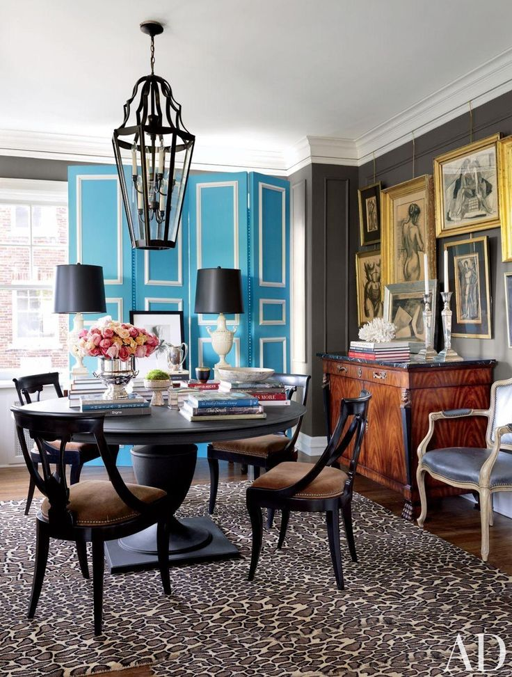 Eclectic Dining Room With Gallery Wall Sky Blue Folding Screen