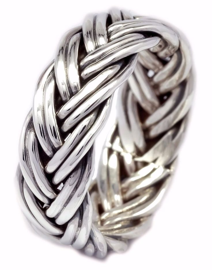 7mm Handcrafted Tiny Couple Line Woven Braid Band Ring Sterling Silver [ISR0033] #BKGjewelry #Band