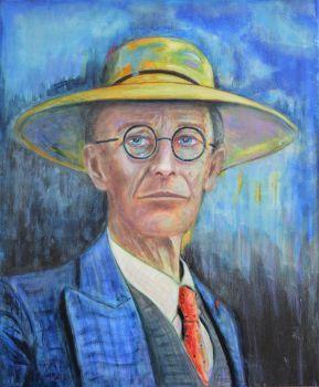 Original Painting philosophy art Hermann Hesse portrait