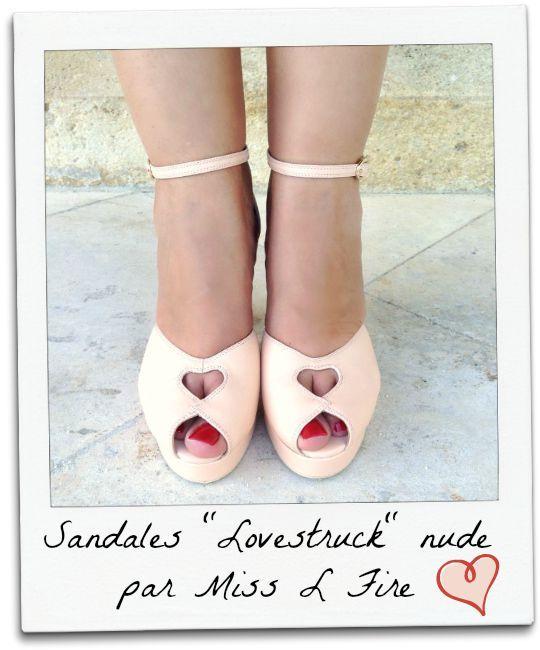 """Coup de coeur pour les sandales à talons """"Lovestruck"""" de Miss L Fire, bride sur la cheville, patin et talon haut, découpe coeur sur le dessus! Missretrochic.com"""