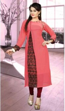 Salmon Color Georgette Straight Style Designer Wear Kurtis | FH542381449 Follow us @heenastyle <<< #indowestern #fashion #fashiondiaries #fashiondesigner #fashionstylist #women #dress #ootd #like4like #ethnicwear #westernwear #kurti #designerkurti #shopping #shop #shoppingonline #shopnow #2017 #mydubai #usa #ootd #canada #indiancouture #tornoto #australia #pakistanicouture #partywear #bollywoodfashion #style #heenastyle