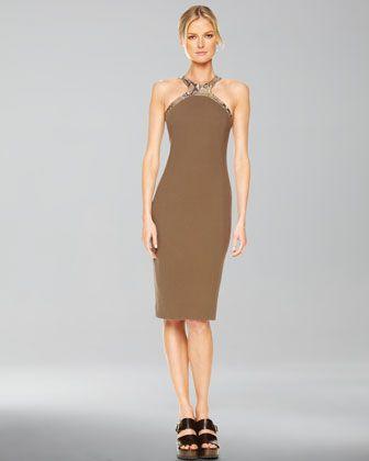 Faux-Python Halter Sheath Dress, Olive by Michael Kors at Neiman