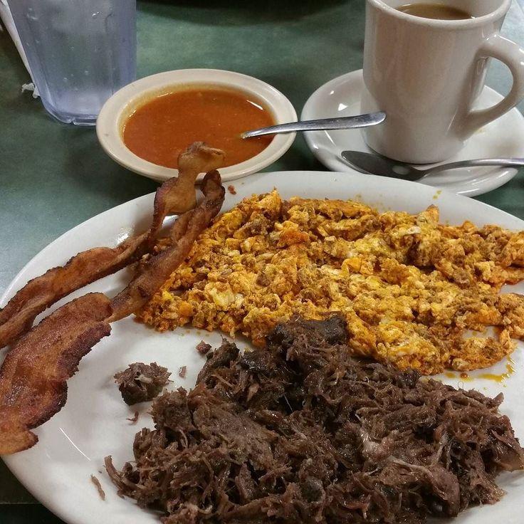 ... Barbacoa Chorizo & Egg Bacon salsa and coffee. Lady looked