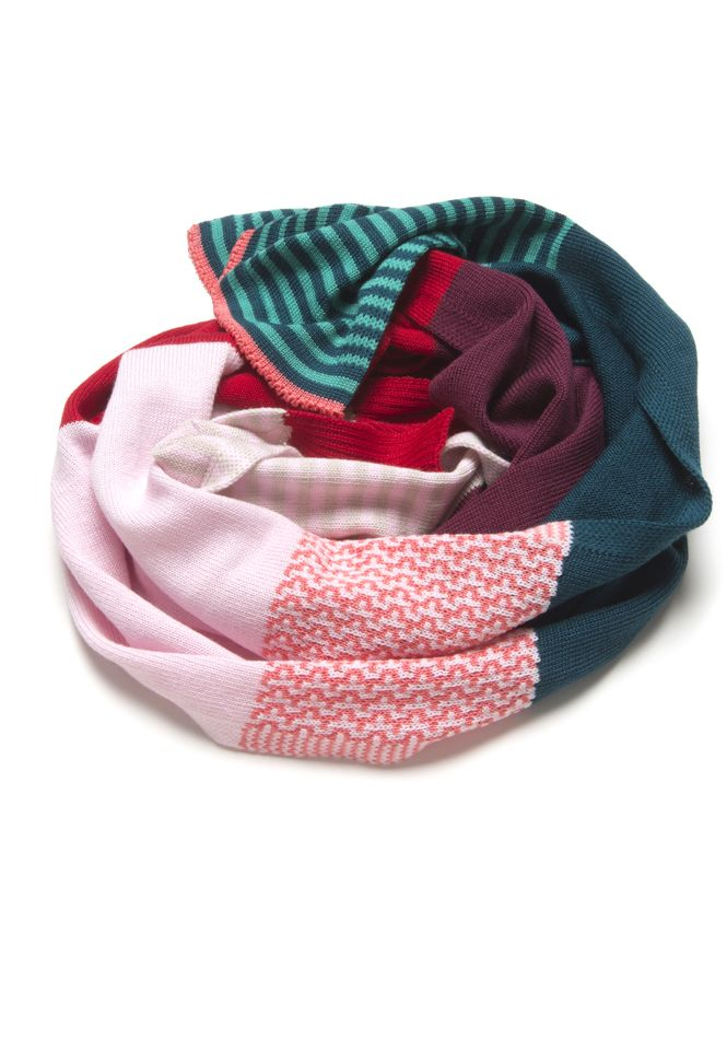 Multi-Stripe Scarf in Emerald Maroon and Pastel Pink | Emily Green