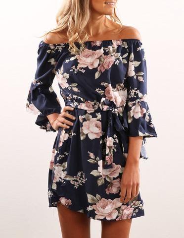 Summer Floral Print Long Sleeve Bardot Tie Waist Short Dress