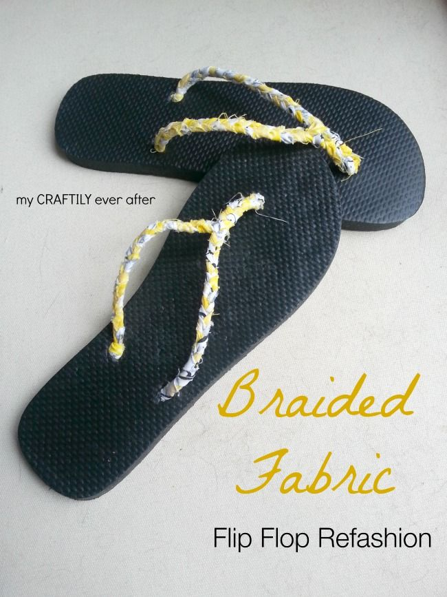 braided fabric flip flop refasion from My Craftily Ever After