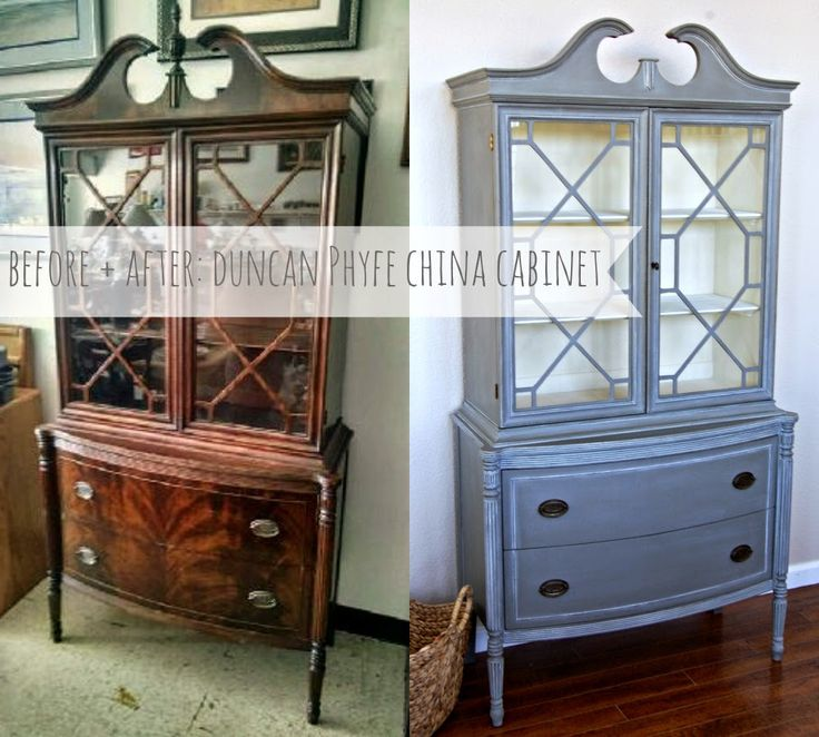 Before + After: Duncan Phyfe China Cabinet.  See how chalk paint transformed this dated piece into a treasure!  Available for sale through our shop page @ Maven + Maison.