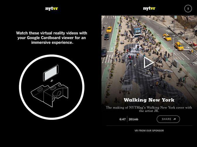 アメリカで第3位の発行部数を誇る新聞、ニューヨーク・タイムズは、Googleと提携し、VRに参入することを明らかにしました。 ニューヨーク・タイムズ紙は、毎週日曜に発行している日曜版ニューヨーク・タイムズ・マガジンの11月7-8日号ととともに、Googleが提供する段ボール製のスマホ向けVRデバイスCardboardを、同紙を購読している100万世帯以上に送付します。VRコンテンツは合わせて配信される「NTY VR」アプリを使って体験することが可能です。オンライン購読者には、Cardboardが送付されるプロモコードが発行されるとのこと。 送付される日曜版ニューヨーク・タイムズ・マガジンには、Cardboardの組み立て方やアプリのダウンロード方法等がわかりやすく記載されます。  「NTY VR」アプリは、最初は「The…