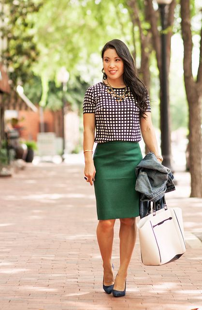 cute & little blog | petite fashion | windowpane silk shirt, green pencil skirt, denim jacket, navy pumps, statement necklace