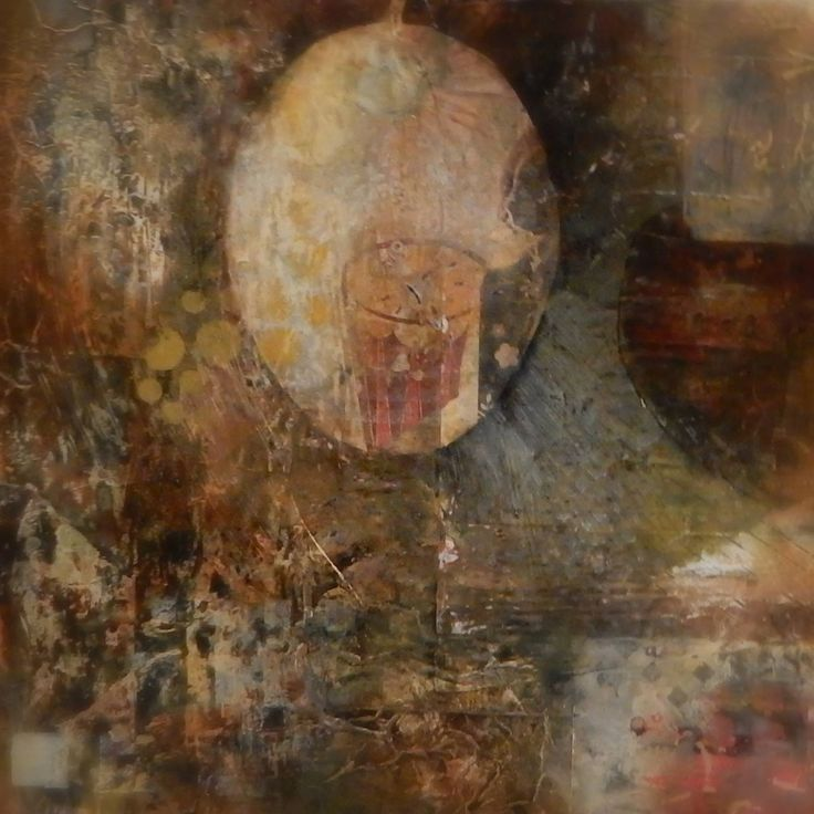 Abstract mixed media painting by Jackie Gray. Earth tones. Collage.