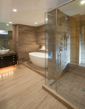 love this tub seperation master bathroom contemporary bathroom - Bathroom Designs With Jacuzzi Tub