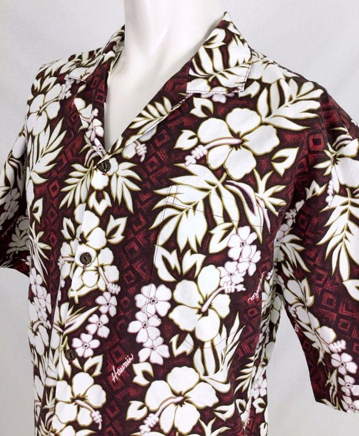 KY's Hawaiian Shirt Men's XL Red White Hibiscus Flowers Aloha Camp #KYs #Hawaiian