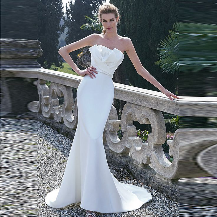 2016 High Quality Satin Strapless Off The Shoulder Pleated Sashes Mermaid Wedding Dresses Vestidos De Noiva Bridal Gowns Online