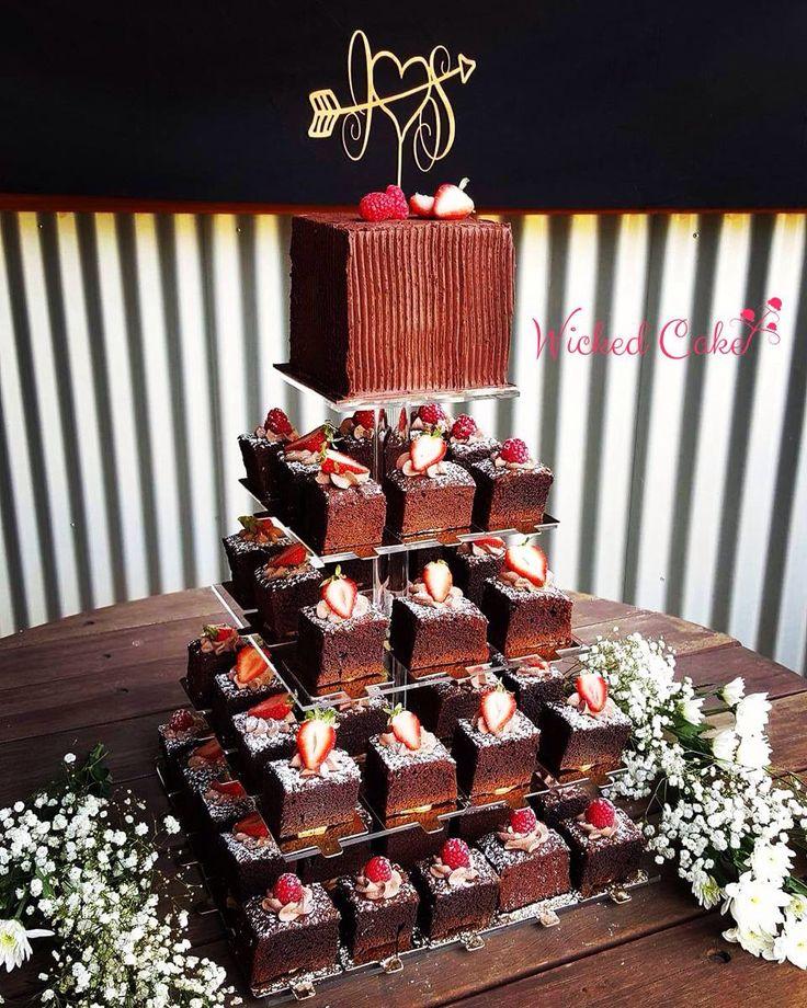 Chocolate brownie tower wedding cake  www.wickedcake.com