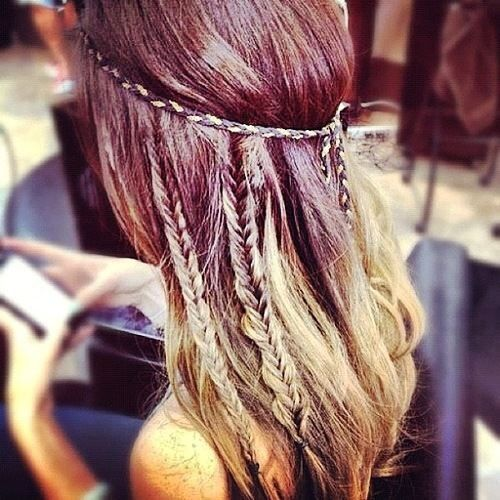 Headband with fishtail braids