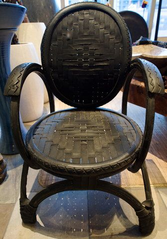 Going green.  An old tire recycled into yard chairs