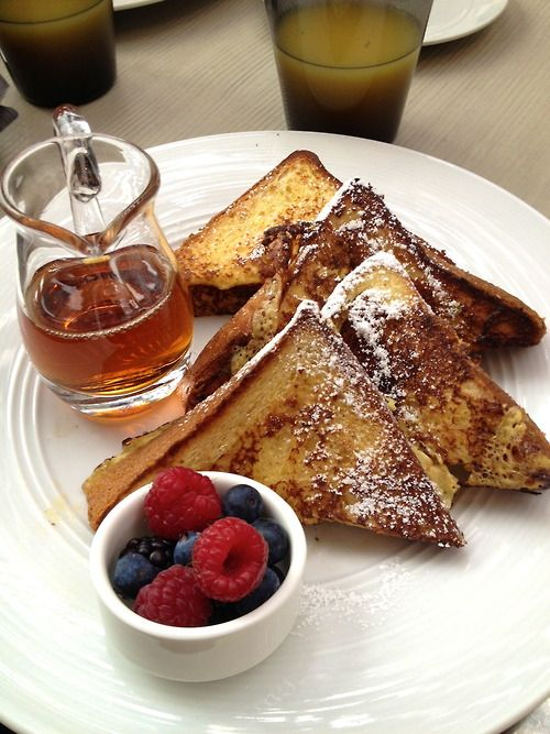 french toast (with lactose free milk, or almond, coconut or soy!), pure maple syrup, and fresh berries!